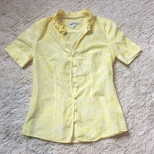Banana Republic Sheer Yellow Blouse